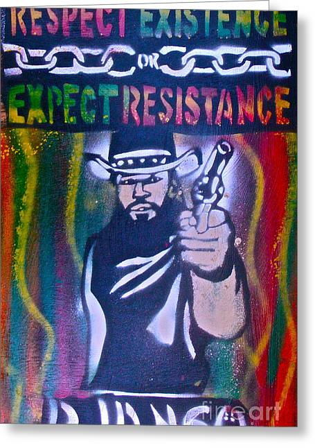 Slavery Paintings Greeting Cards - Django Rasta Resistance Greeting Card by Tony B Conscious