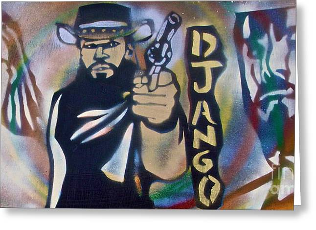 Slavery Paintings Greeting Cards - DJANGO Three Faces Greeting Card by Tony B Conscious