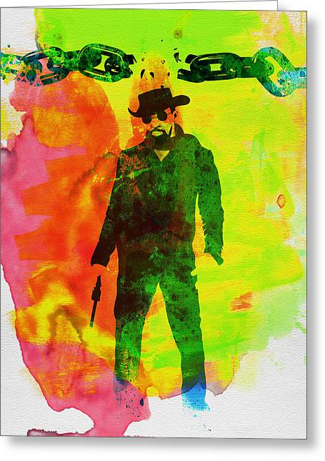 Shows Greeting Cards - Django Unchained Watercolor Greeting Card by Naxart Studio
