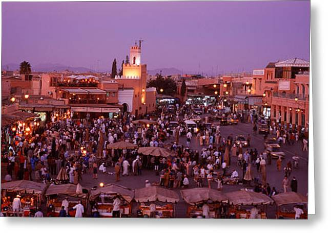 Marketplace Greeting Cards - Djemma El Fina, Marrakech, Morocco Greeting Card by Panoramic Images
