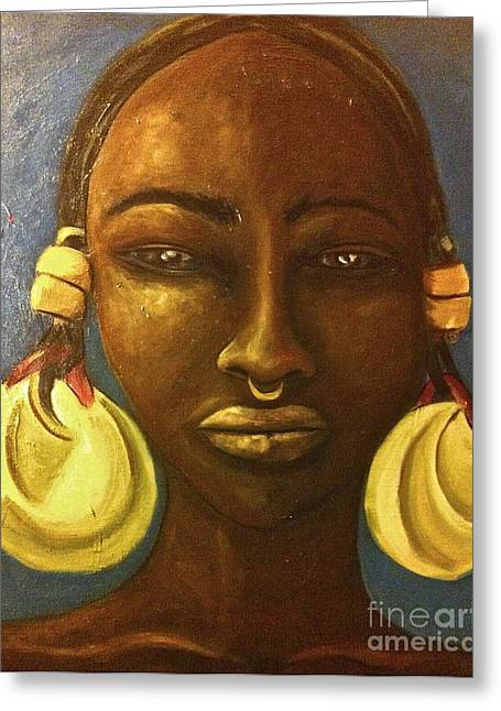 Gold Earrings Paintings Greeting Cards - Djenne Woman  Greeting Card by Carrie M Moss