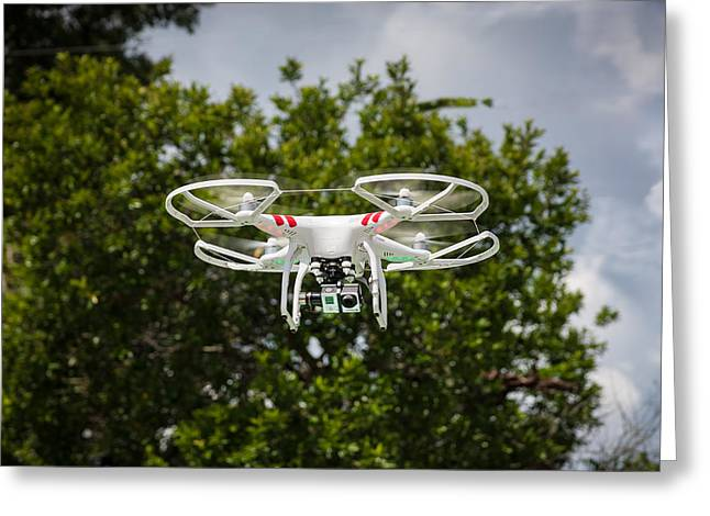 Go Pro Greeting Cards - DJI Phantom 2 Drone with Go Pro Hero 3 Greeting Card by Rich Franco