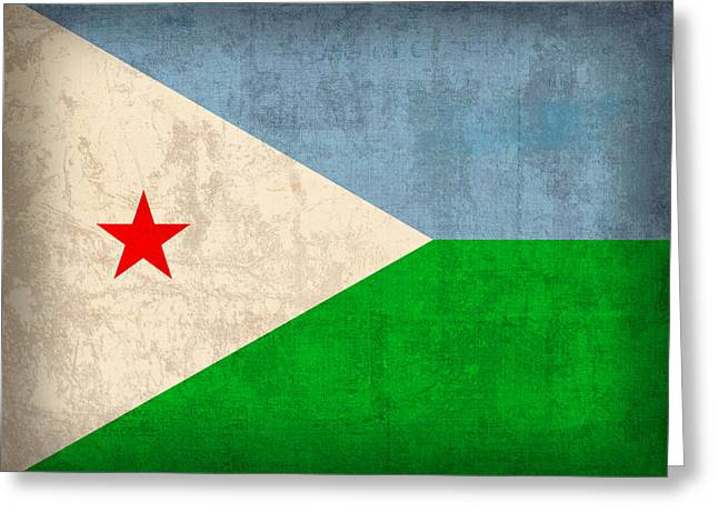 National Mixed Media Greeting Cards - Djibouti Flag Vintage Distressed Finish Greeting Card by Design Turnpike
