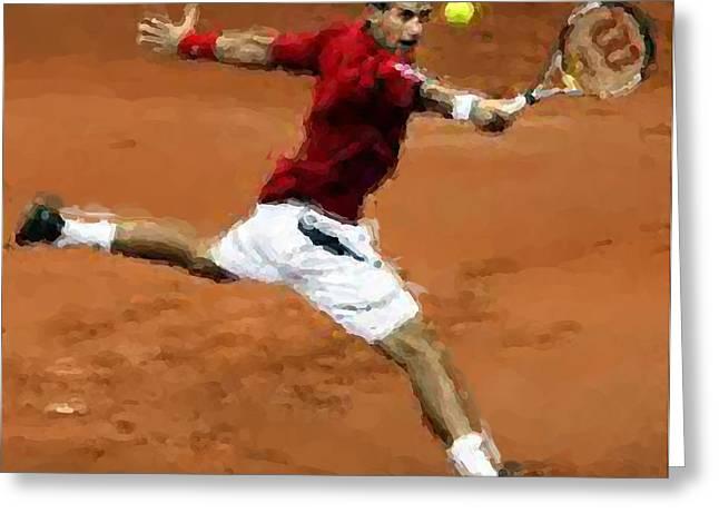 Djokovic French Backhand Greeting Card by Brian Menasco