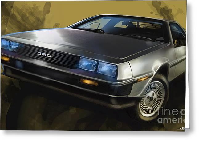 80s Greeting Cards - DMC Sports Car Greeting Card by Uli Gonzalez
