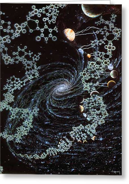 Unwind Paintings Greeting Cards - DNA Embraces the Planets Greeting Card by Jon  Lomberg