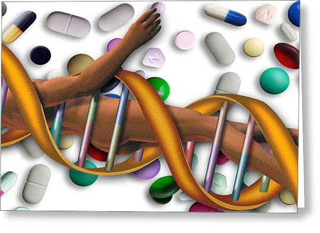 Molecular Greeting Cards - Dna Surrounded By Pills Greeting Card by Panoramic Images