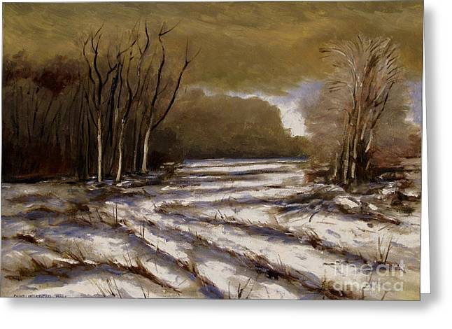 Snowscape Paintings Greeting Cards - D N R Service Road Closed retouch Greeting Card by Charlie Spear