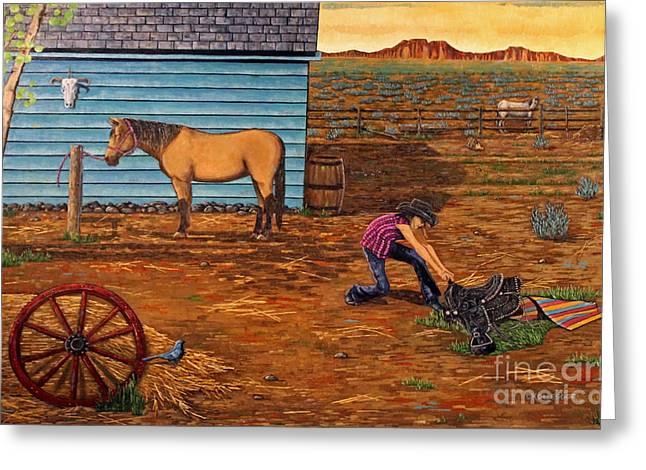 Western Fine Art Greeting Cards - Do Not Disturb Greeting Card by Carolyn Kollegger