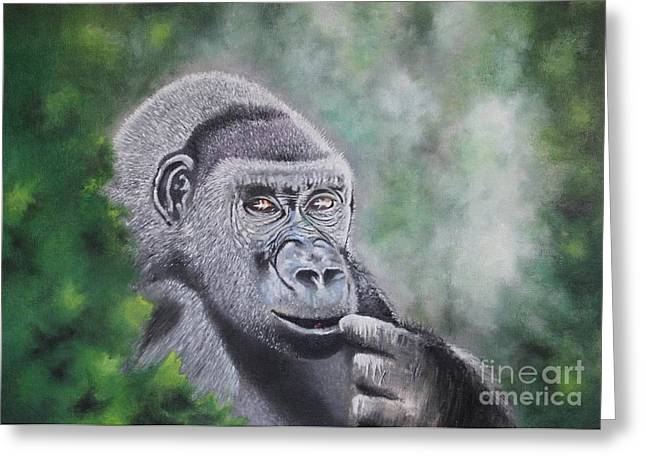 Gorilla Drawings Greeting Cards - Do Not Disturb Greeting Card by Paul Horton