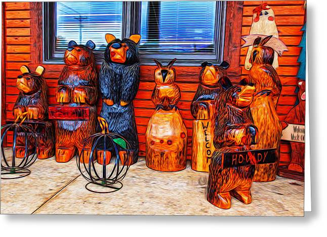 Wooden Sculpture Greeting Cards - Do Not Feed the Animals Greeting Card by John Bailey