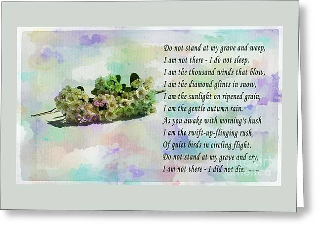 Do Not Stand At My Grave And Weep Greeting Card by Barbara Griffin