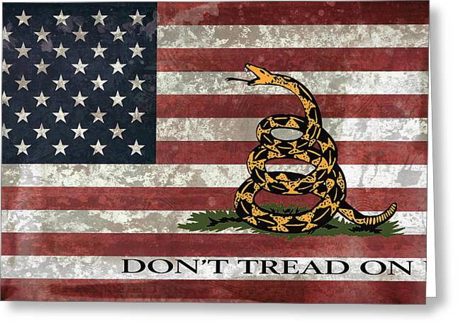 Snake Flag Greeting Cards - Do Not Tread On Us Flag Greeting Card by Daniel Hagerman