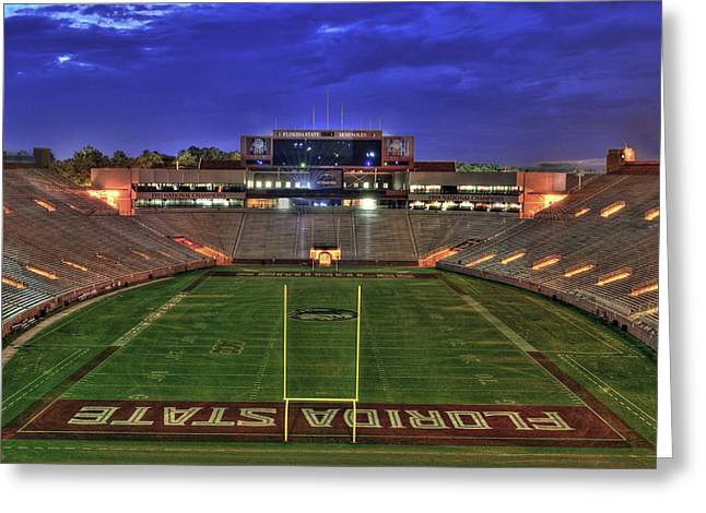 Nighttime Greeting Cards - Doak Campbell Stadium Greeting Card by Alex Owen