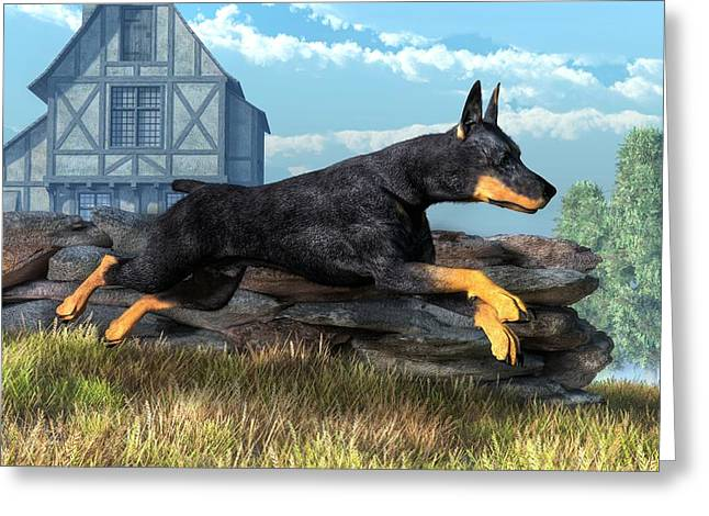 Doberman Greeting Card by Daniel Eskridge