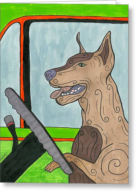 Susie Weber Greeting Cards - Doberman Driving Greeting Card by Susie Weber