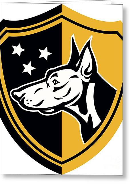Guard Dog Greeting Cards - Doberman Guard Dog Stars Shield Greeting Card by Aloysius Patrimonio