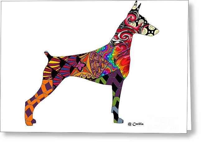 Doberman Pinscher Puppy Greeting Cards - Doberman In Poetry Greeting Card by Maria C Martinez