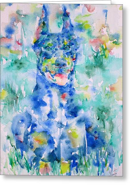 Guard Dog Paintings Greeting Cards - DOBERMAN in the GRASS - watercolor portrait Greeting Card by Fabrizio Cassetta