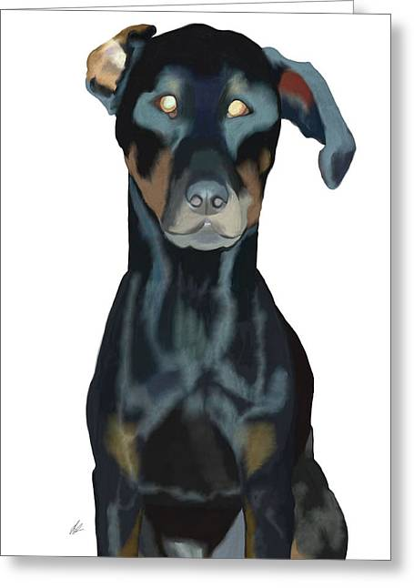 Guard Dog Greeting Cards - Doberman Greeting Card by Jilly SB