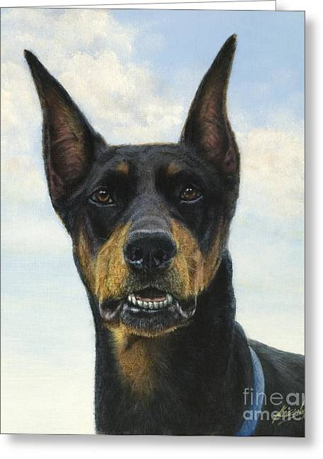 Collie Greeting Cards - Doberman Greeting Card by John Silver
