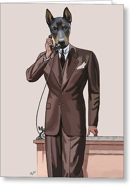Smart Digital Art Greeting Cards - Doberman on the phone Greeting Card by Loopylolly