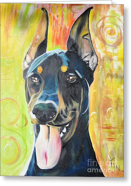Genealogy Paintings Greeting Cards - Doberman Greeting Card by PainterArtist FIN