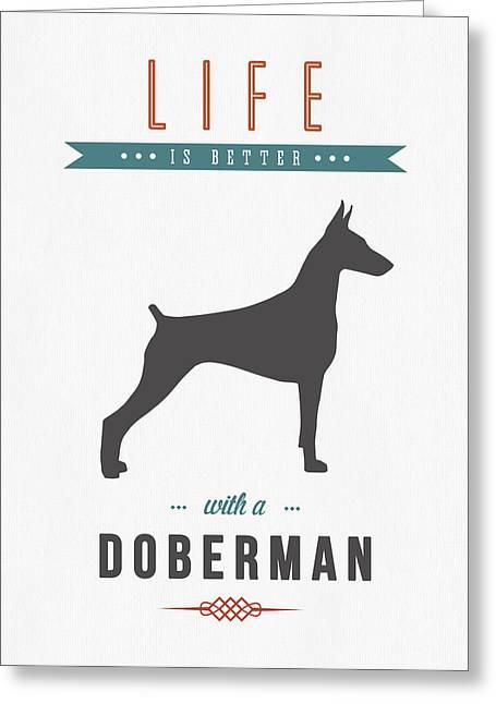 Doberman Pinscher Puppy Greeting Cards - Doberman Pinscher 01 Greeting Card by Aged Pixel