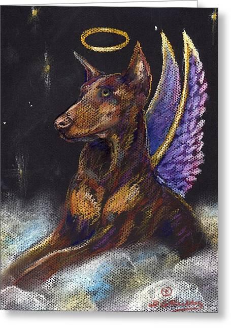 Heavens Pastels Greeting Cards - Doberman Pinscher Angel Greeting Card by Darlene Grubbs