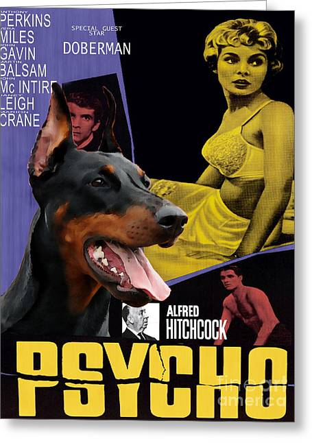 Doberman Pinscher Art Canvas Print - Psycho Movie Poster Greeting Card by Sandra Sij