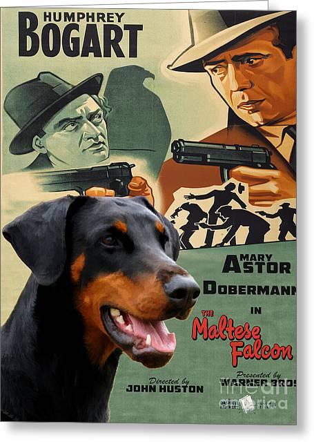 Maltese Falcon Greeting Cards - Doberman Pinscher Art Canvas Print - The Maltese Falcon Movie Poster Greeting Card by Sandra Sij