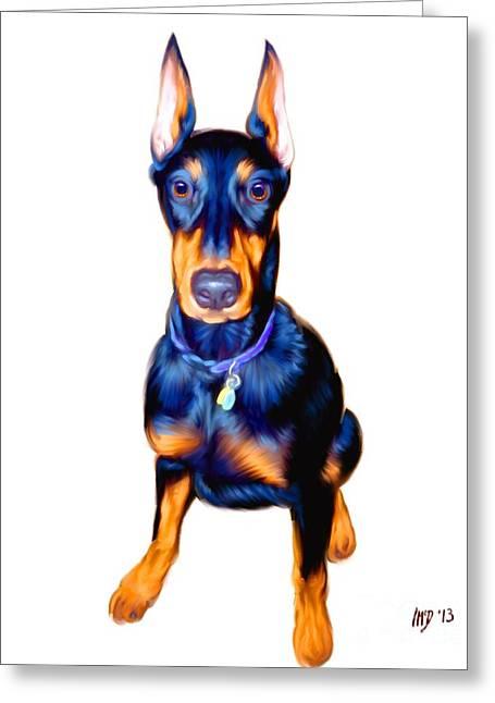 Doberman Pinscher Puppy Greeting Cards - Doberman Pinscher Art Greeting Card by Iain McDonald