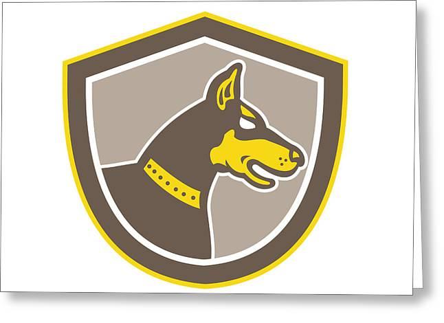 Guard Dog Greeting Cards - Doberman Pinscher Head Shield Retro Greeting Card by Aloysius Patrimonio