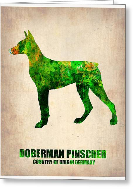 Puppy Digital Greeting Cards - Doberman Pinscher Poster Greeting Card by Naxart Studio