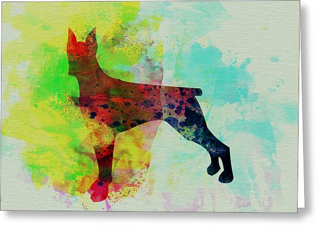 Puppies Paintings Greeting Cards - Doberman Pinscher Watercolor Greeting Card by Naxart Studio