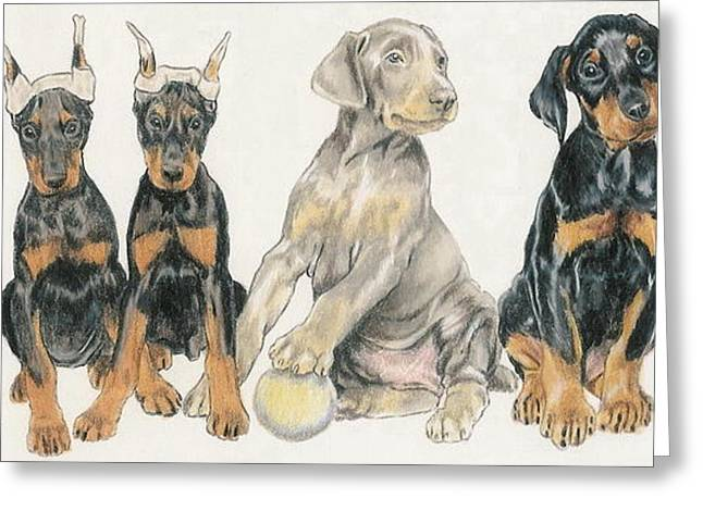 Working Dog Mixed Media Greeting Cards - Doberman Puppies Greeting Card by Barbara Keith