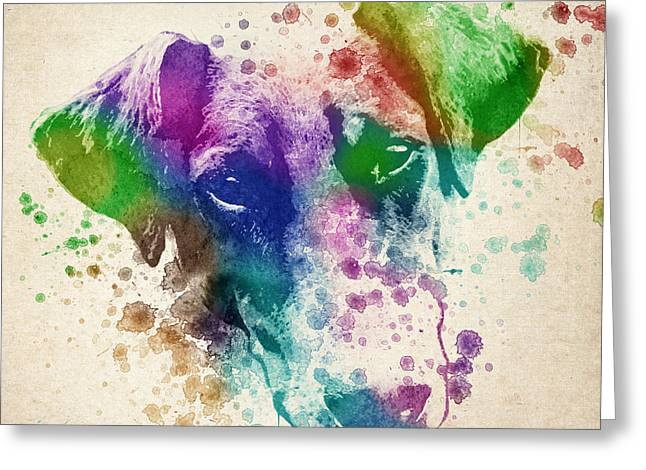 Doberman Splash Greeting Card by Aged Pixel