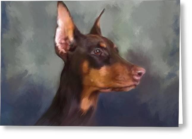Watchdog Greeting Cards - Dobermann Portrait Greeting Card by Enzie Shahmiri