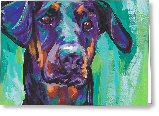 Dobie Love Greeting Card by Lea S