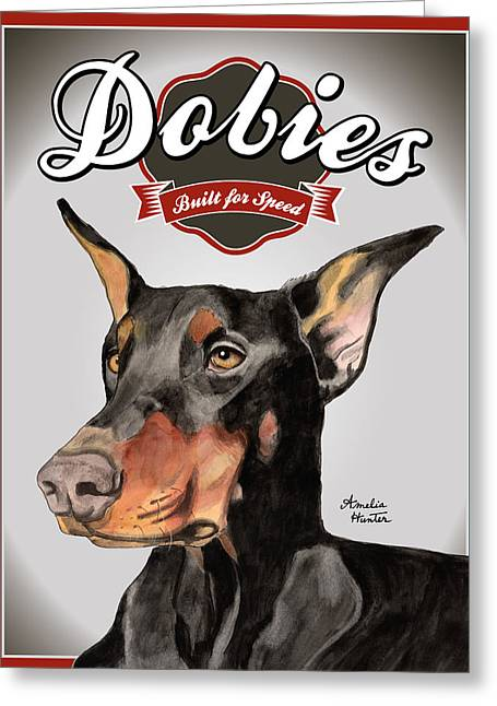 Doby Greeting Cards - Dobies Built for Speed Greeting Card by Amelia Hunter