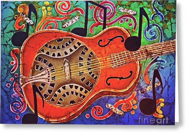 Bluegrass Tapestries - Textiles Greeting Cards - Dobro-Slide Guitar-2 Greeting Card by Sue Duda