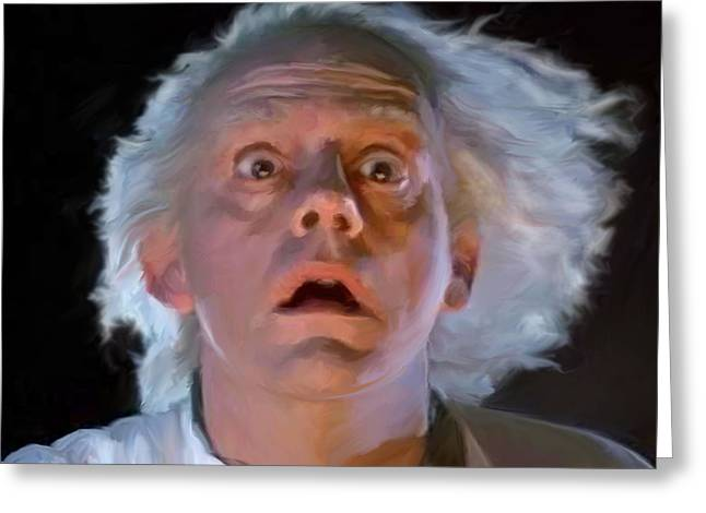 1955 Movies Greeting Cards - Doc Brown Greeting Card by Paul Tagliamonte