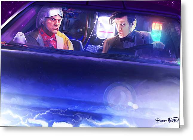 Capacitor Greeting Cards - Doc Doctor and the Delorian Greeting Card by Brett Hardin