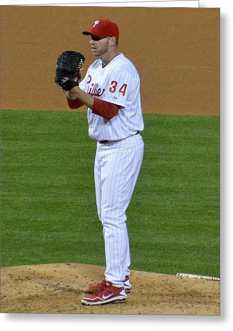 Citizens Bank Park Photographs Greeting Cards - Doc Halladay Greeting Card by David Ziegler