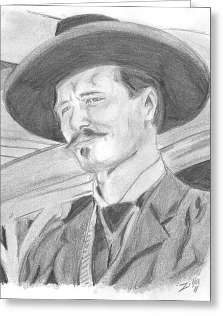 Tombstone Drawings Greeting Cards - Doc Holiday Greeting Card by Shawn  Howe