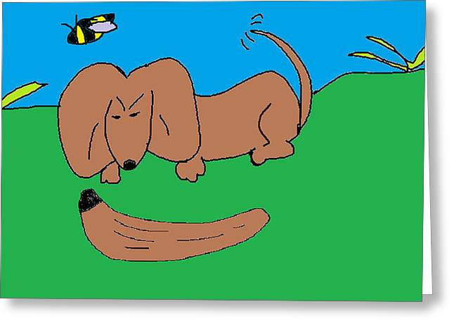 Dachshund Puppy Digital Art Greeting Cards - Doc the Dachshund  Greeting Card by Othen Cummings