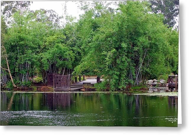 Bamboo Fence Greeting Cards - Dock Greeting Card by Adriana Crosse