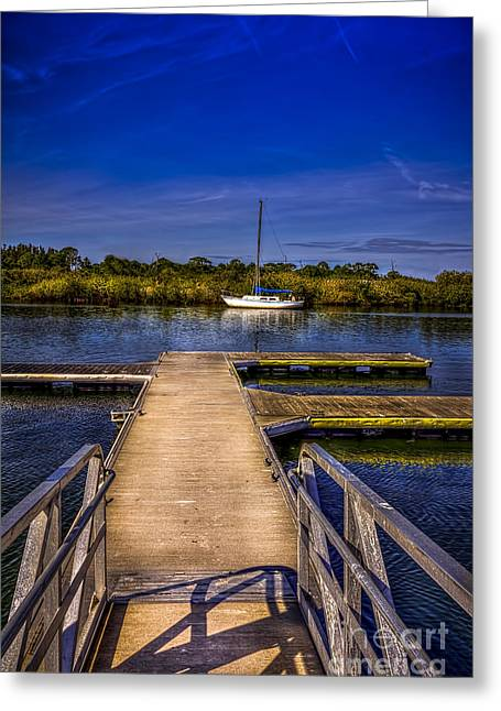 Waterways Greeting Cards - Dock and Boat Greeting Card by Marvin Spates