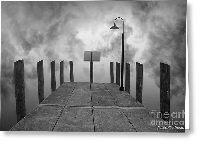 Dave Digital Art Greeting Cards - Dock and Clouds Greeting Card by David Gordon