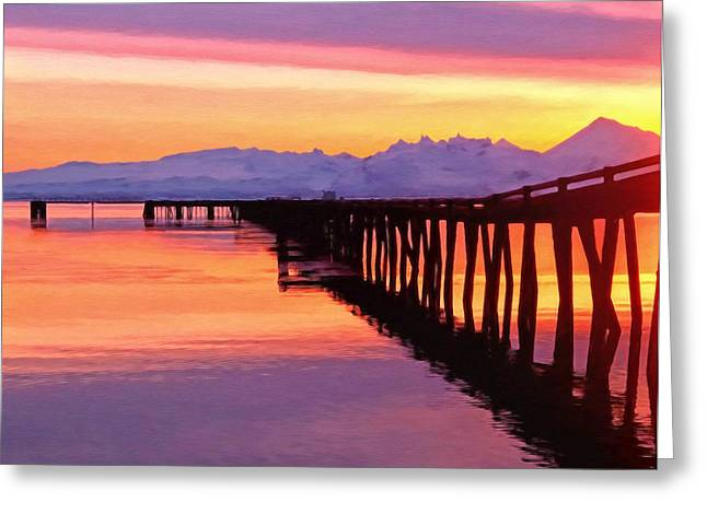 Sunset Greeting Cards - Dock at Cold Bay Greeting Card by Michael Pickett